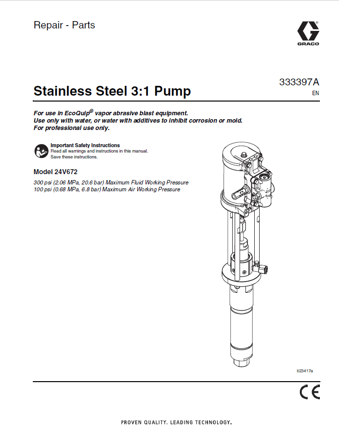 Stainless Steel 3:1 Pump